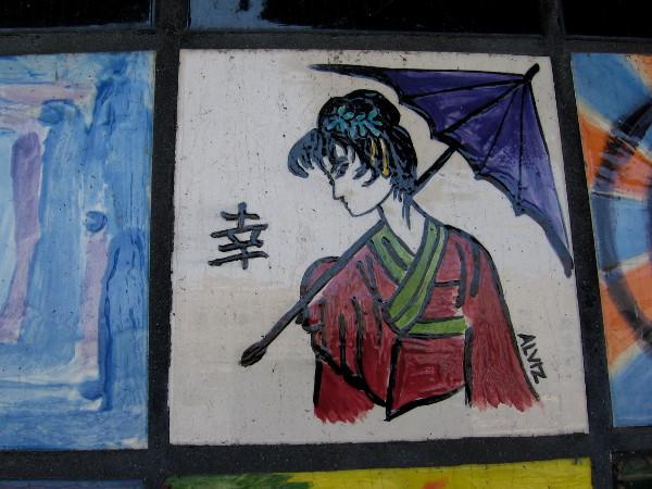 A kimono and umbrella.