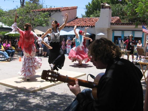 Guitar music propels Flamenco dancers in Balboa Park's Spanish Village.