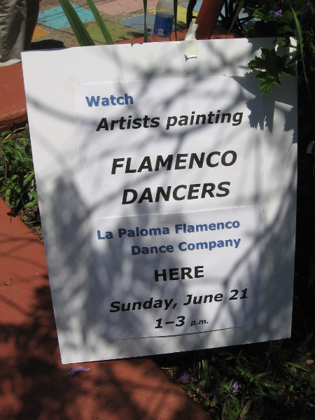 The public was invited to watch local artists painting a performance by the La Paloma Flamenco Dance Company.