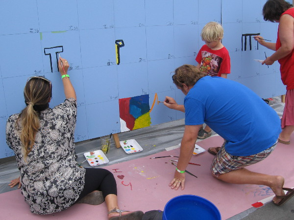 People were just getting started with the community mural project!