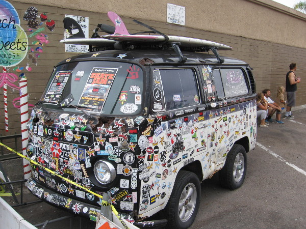 Surfboards on top, cool decals plastered around. Let's walk past the Hodadmobile and check out something amazing...