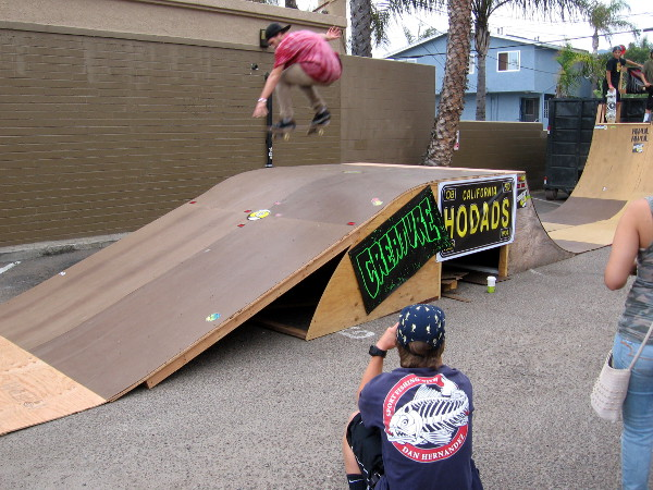 Burgers are famous at Hodad's, and so is the skateboarding demonstration beside their restaurant.