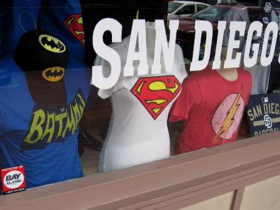 Shops in downtown San Diego have stocked up on superhero gear for coming throngs of pop culture fans and cosplayers.