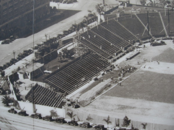 Third panel of photo mural shows a portion of San Diego's Embarcadero in 1936. Lane Field, at Broadway and Pacific Highway, is under construction.