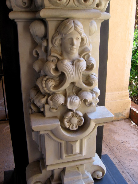 One of four identical heads created in 1914 for the Panama-California Exposition. It was located on the Varied Industries Building facade.