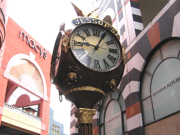 The elegant Jessop's Street Clock stands like a vision from the past at the center of San Diego's popular Horton Plaza.