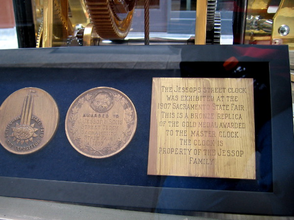 The Jessops Street Clock was exhibited at the 1907 Sacramento State Fair. This is a bronze replica of the gold medal awarded to the master clock. The clock is property of the Jessop family.