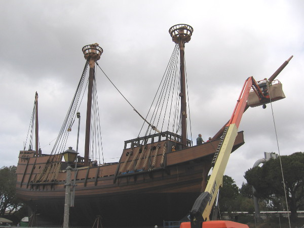 San Salvador, an approximate reproduction of explorer Juan Rodriguez Cabrillo's historic galleon, undergoes final preparation at Spanish Landing in San Diego.