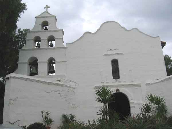 Five church bells hang in the distinctive facade of the historic Mission San Diego de Alcalá, founded by Junipero Serra on July 16, 1769.