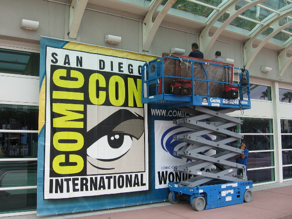Distinctive San Diego Comic-Con International sign is hung on convention center for the 2015 pop culture mega-event.