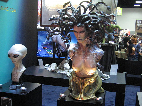 An extraterrestrial and Medusa. There are many fantastic, detailed models exhibited at Comic-Con on the convention floor.