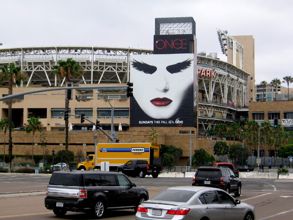 Stunning white face stares from Petco Park across Harbor Drive. Nobody attending 2015 San Diego Comic-Con could possibly miss this!