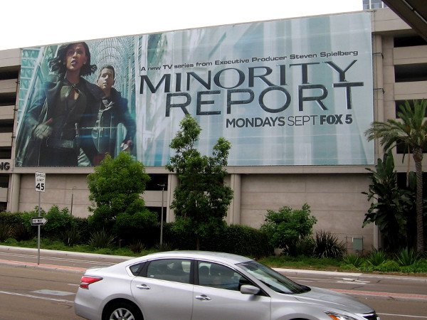Several huge Minority Report banners have been hung on the Hilton parking garage for 2015 San Diego Comic-Con.