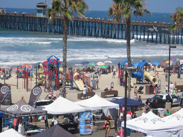 Spectators filled the beach, boardwalk and Oceanside Pier as people enjoyed many cool things to see at Supergirl Pro.