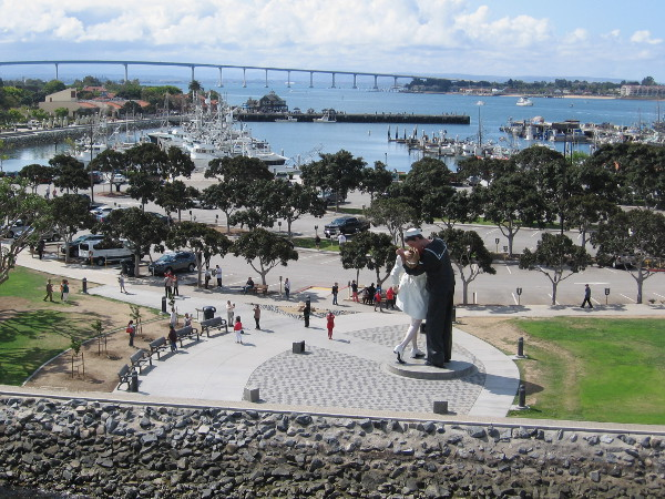 Looking south from atop the flight deck. Seen are the Unconditional Surrender statue, Tuna Harbor, and the Coronado Bay Bridge.