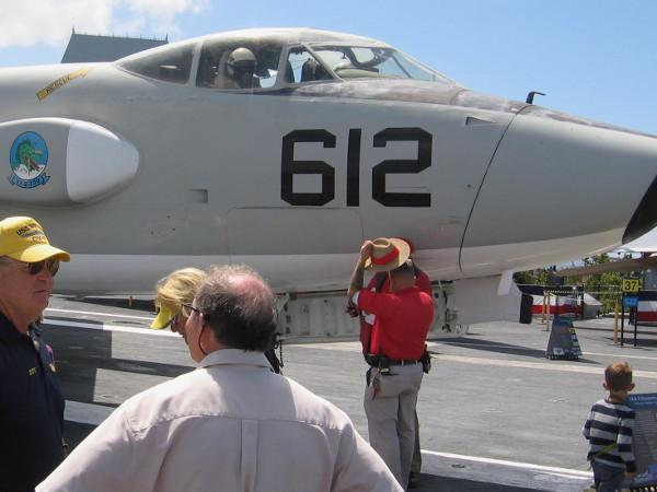 USS Midway visitors enjoy a sunny San Diego day near EKA-3 Skywarrior.