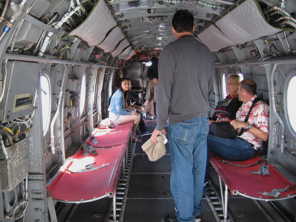 Visitors find out what it's like inside a CH-46 Sea Knight helicopter.