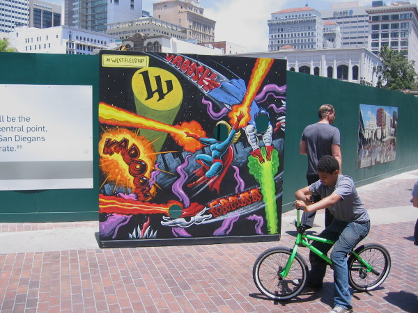 Visitors to Horton Plaza are invited to become colorful superheroes during San Diego Comic-Con.