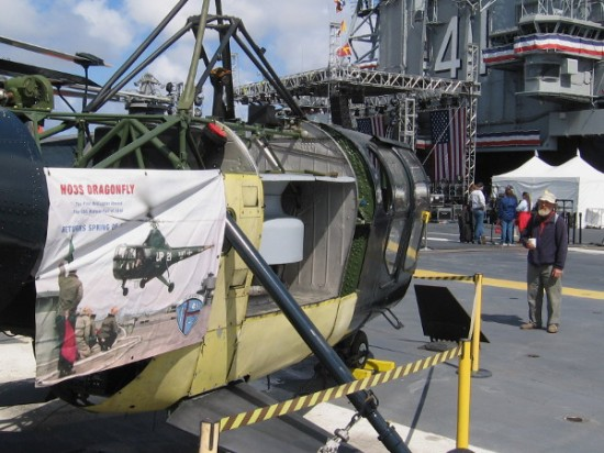 This HO3S Dragonfly, first helicopter aboard the USS Midway in 1948, is undergoing restoration.
