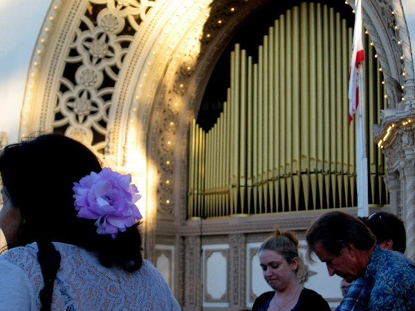 People gather on a July evening to listen to the amazing Spreckels Organ in Balboa Park.