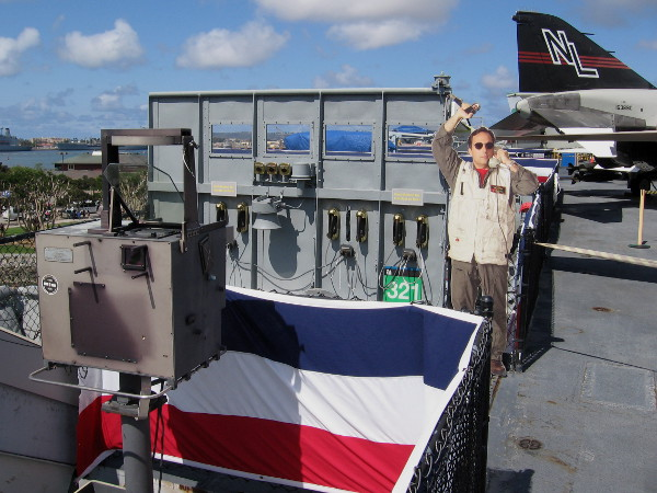 Exhibit on Midway's LSO Platform shows how Navy pilots landed in difficult conditions, relying on optical guidance.