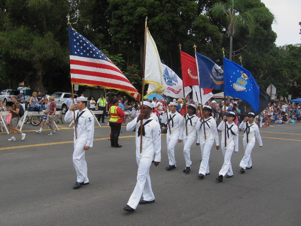 Color guard leads the way during the Coronado Independence Day parade on Orange Avenue.