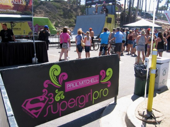 The annual female sports festival included high flying girls skateboarding a big halfpipe.
