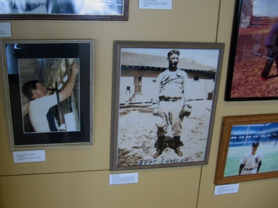 Many historical photographs can be enjoyed on one wall of the baseball research center.