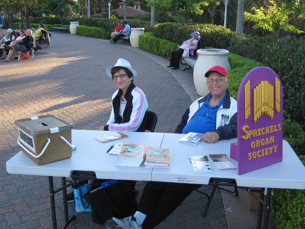 These Spreckels Organ Society volunteers smiled for my camera at one entrance to the free public concert.