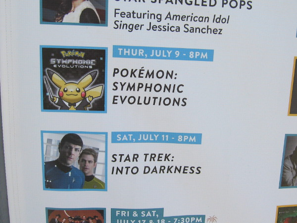 San Diego Symphony ticket booth at Embarcadero Marina Park South advertises the upcoming Pokeman and Star Trek movie Summer Pops concerts.