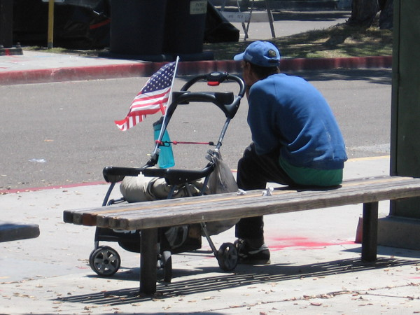 Flags are already out up and down San Diego's Embarcadero the day before the Fourth of July.
