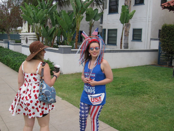 Almost everyone I saw was wearing clothing or costumes befitting a Fourth of July celebration!
