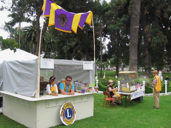 The Lions Club had a stand at Spreckels Park near the center of patriotic Coronado.