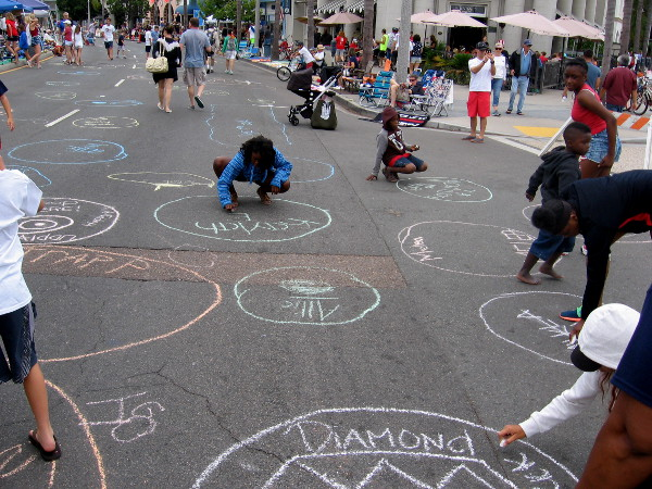 Finishing touches are put on the poop circles. Should a horse poop in your chalk circle, you win a special prize!