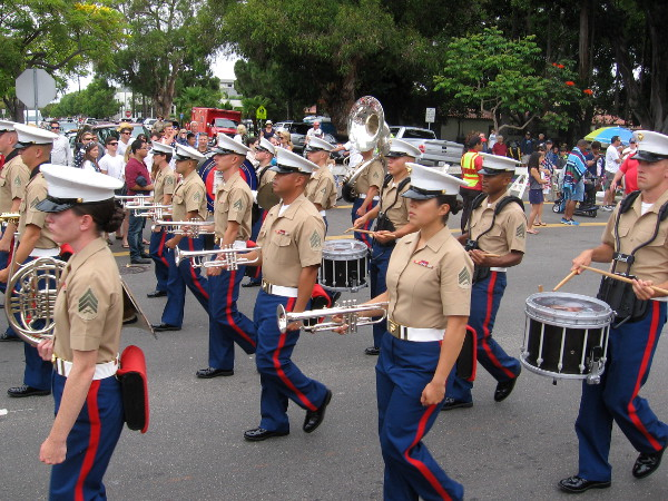 Here comes the Marine Corps band!