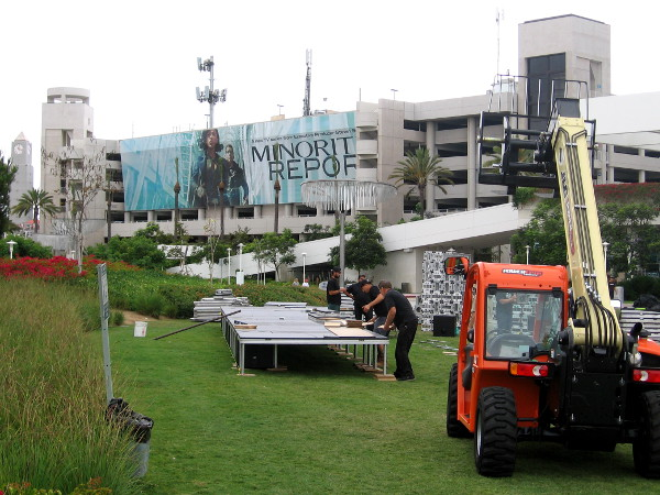 Another section of the FX Fearless Arena under construction, with a big Minority Report banner in the background.