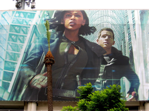 Close up photo of Minority Report image on the Hilton parking garage.