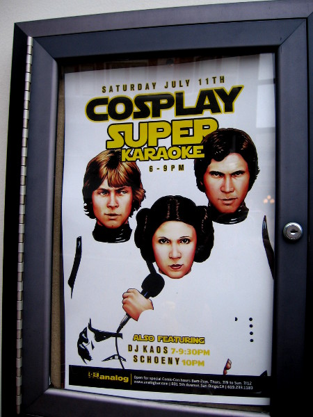 More Analog fun . . . Cosplay Super Karaoke! I didn't know Han, Luke and Leia had formed a musical trio.