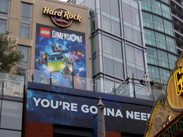 I see Lego Dimensions characters Superman, Batman and Gandalf in this graphic on the Hard Rock Hotel.