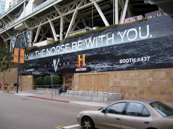 The wrap on the west wall of Petco Park is finished. Vikings on the History Channel. May the Norse be with you!