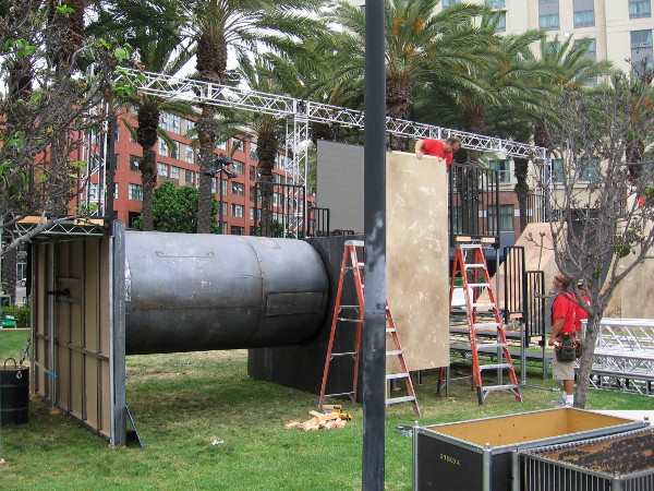 The Ubisoft Assassin's Creed obstacle course is half-completed. It appears slightly different from last year.