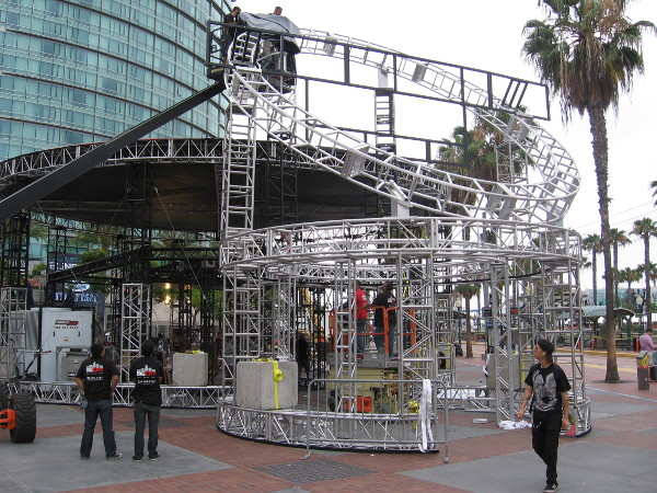 The complex and interesting Heroes Reborn venue was being erected throughout the day Monday.