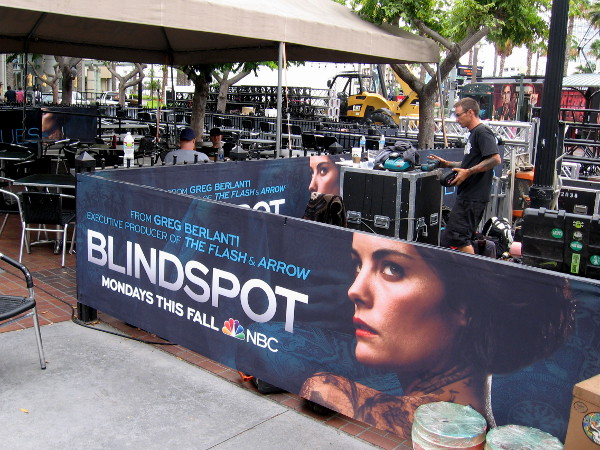 The Tin Fish restaurant is decked out with NBC Blindspot graphics.