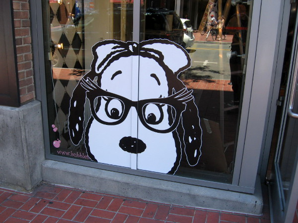 Snoopy with granny glasses peers from Gaslamp shop window.