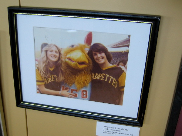 Cool photo of the KGB Chicken between two Padrettes. Ted Giannoulas later became known as The Famous San Diego Chicken.