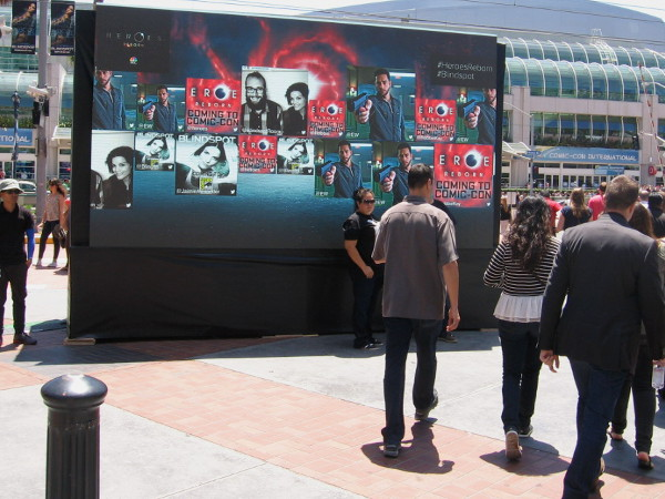 Video board promotes exciting NBC television programming in Gaslamp Square.