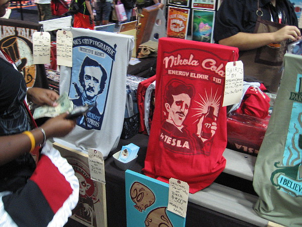 Imaginative t-shirts featuring Edgar Allan Poe and Nikola Tesla.