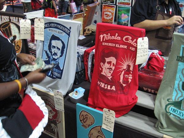 Imaginative t-shirts featuring Edgar Allan Poe and Nikola Tesla.
