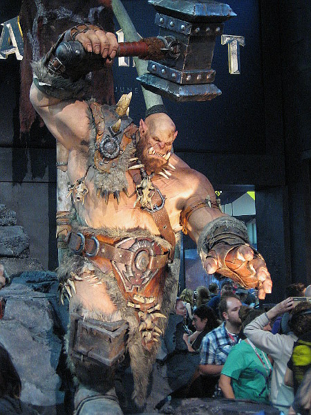 This monstrous orc with a hammer is from the awesome Warcraft exhibit.