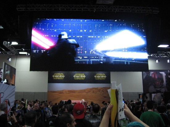 The large Star Wars area has film clips playing overhead from the classic movies.